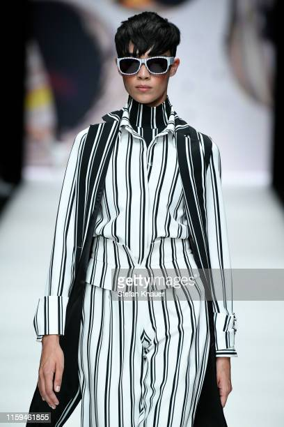 Model walks the runway at the KXXK show during the Berlin Fashion Week Spring/Summer 2020 at ewerk on July 01, 2019 in Berlin, Germany.