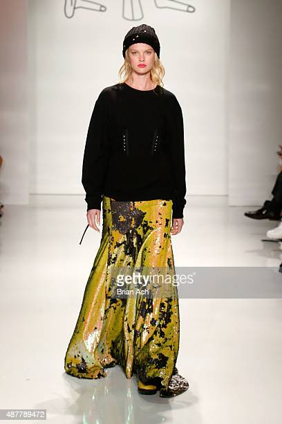 A model walks the runway at the Kye fashion show during Spring 2016 New York Fashion Week The Shows at The Space Skylight at Clarkson Sq on September...