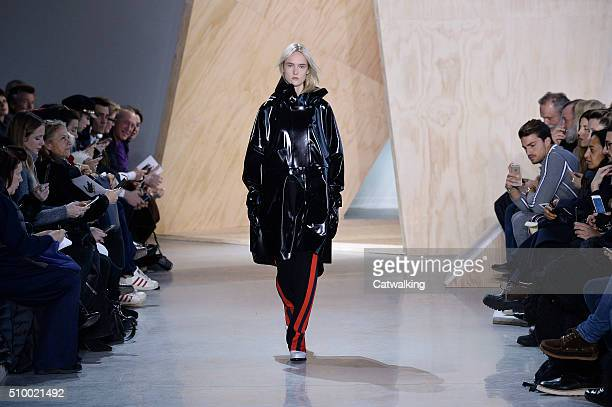 A model walks the runway at the Lacoste Autumn Winter 2016 fashion show during New York Fashion Week on February 13 2016 in New York United States