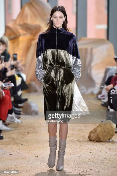 A model walks the runway at the Lacoste Autumn Winter 2017 fashion show during New York Fashion Week on February 11 2017 in New York United States