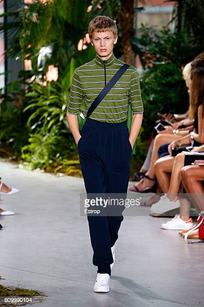 A model walks the runway at the Lacoste designed by Felipe Oliveira Baptista show at Spring Studios on September 10 2016 in New York City
