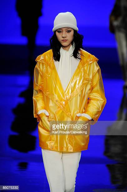 Model walks the runway at the Lacoste Fall 2009 fashion show during Mercedes-Benz Fashion Week at The Tent in Bryant Park on February 14, 2009 in New...