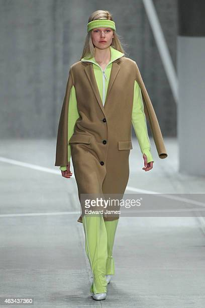 Model walks the runway at the Lacoste fashion show at The Theatre at Lincoln Center on February 14, 2015 in New York City.