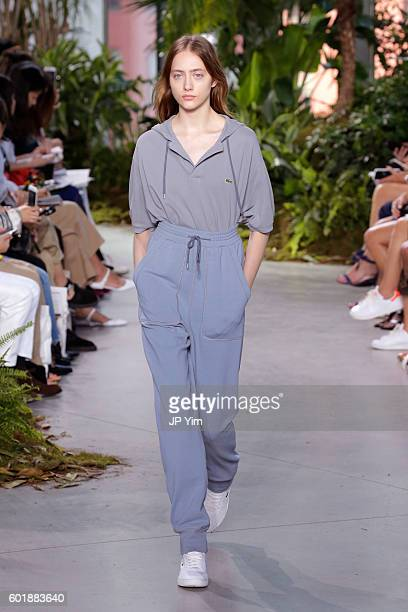 A model walks the runway at the Lacoste fashion show during New York Fashion Week September 2016 at Spring Studios on September 10 2016 in New York...