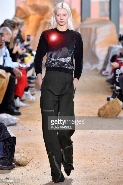 A model walks the runway at the Lacoste fashion show during New York Fashion Week Fall Winter 20172018 on February 11 2017 in New York City