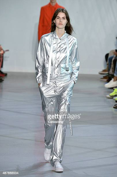 A model walks the runway at the Lacoste Spring Summer 2016 fashion show during New York Fashion Week on September 12 2015 in New York United States
