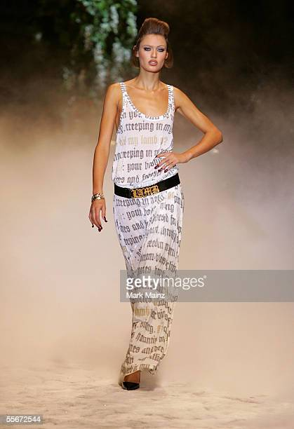 A model walks the runway at the Lamb By Gwen Stefani Spring 2006 fashion show during Olympus Fashion Week at Roseland September 16 2005 in New York...