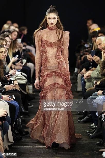 A model walks the runway at the Lana Mueller show during the MercedesBenz Fashion Week Berlin A/W 2017 at Soho House on January 18 2017 in Berlin...