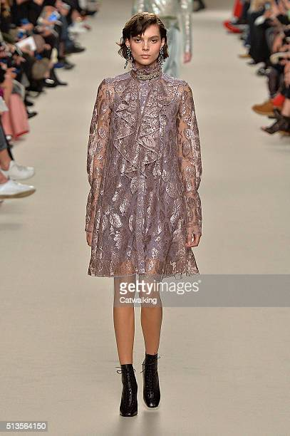 A model walks the runway at the Lanvin Autumn Winter 2016 fashion show during Paris Fashion Week on March 3 2016 in Paris France