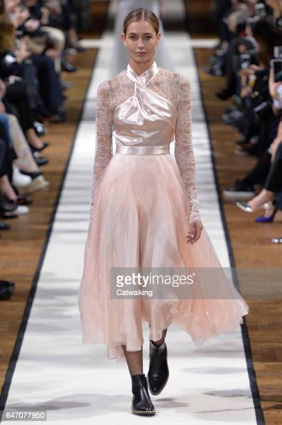 A model walks the runway at the Lanvin Autumn Winter 2017 fashion show during Paris Fashion Week on March 1 2017 in Paris France