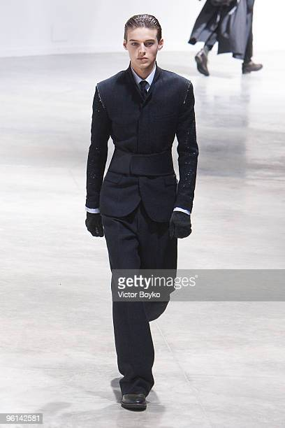 A model walks the runway at the Lanvin fashion show during Paris Menswear Fashion Week Autumn/Winter 2010 at Palais De Tokyo on January 24 2010 in...