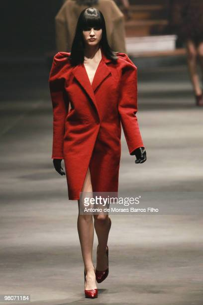 Model walks the runway at the Lanvin Ready to Wear show during Paris Womenswear Fashion Week Fall/Winter 2011 at Halle Freyssinet on March 5, 2010 in...