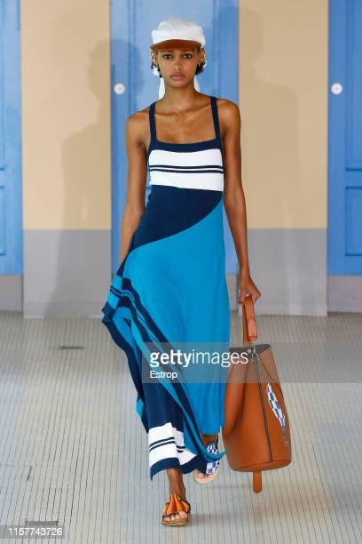 Model walks the runway at the Lanvin show during Paris Men's Fashion Week Spring/Summer 2020 on June 23, 2019 in Paris, France.