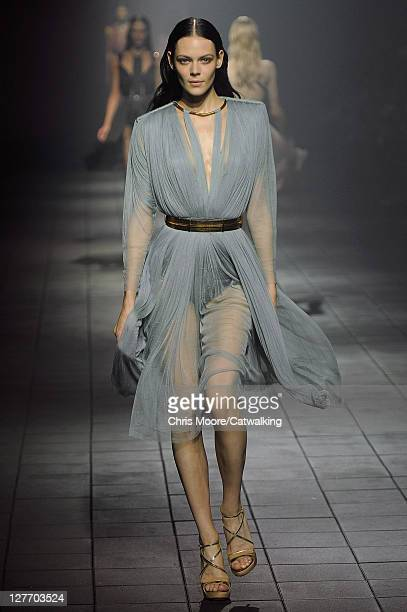Model walks the runway at the Lanvin Spring Summer 2012 fashion show during Paris Fashion Week on September 30, 2011 in Paris, France.