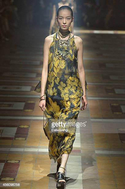 A model walks the runway at the Lanvin Spring Summer 2015 fashion show during Paris Fashion Week on September 25 2014 in Paris France