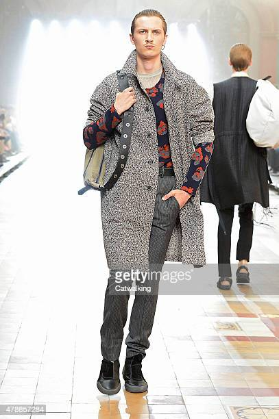 Model walks the runway at the Lanvin Spring Summer 2016 fashion show during Paris Menswear Fashion Week on June 28, 2015 in Paris, France.