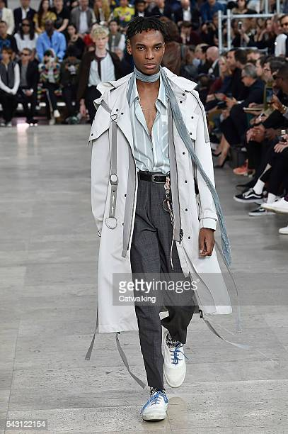 Model walks the runway at the Lanvin Spring Summer 2017 fashion show during Paris Menswear Fashion Week on June 26, 2016 in Paris, France.