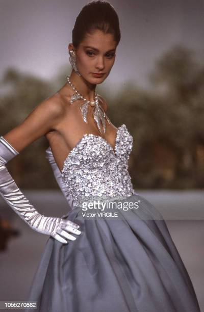 A model walks the runway at the Lapidus Haute Couture Spring/Summer 1991 fashion show during the Paris Fashion Week in January 1991 in Paris France
