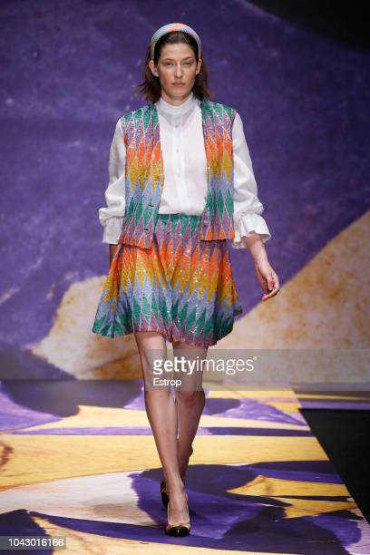 A model walks the runway at the Laura Biagiotti show during Milan Fashion Week Spring/Summer 2019 on September 23 2018 in Milan Italy