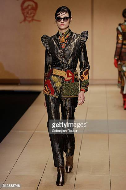 A model walks the runway at the Laura Biagiotti show during Milan Fashion Week Fall/Winter 2016/17 on February 28 2016 in Milan Italy