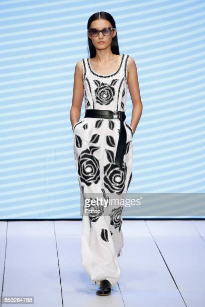 A model walks the runway at the Laura Biagiotti show during Milan Fashion Week Spring/Summer 2018 on September 24 2017 in Milan Italy