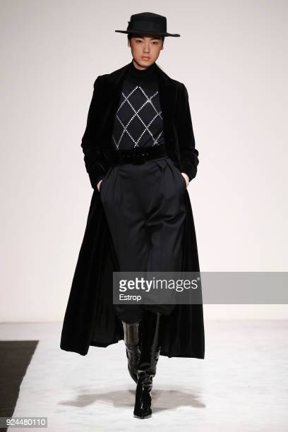 A model walks the runway at the Laura Biagiotti show during Milan Fashion Week Fall/Winter 2018/19 on February 25 2018 in Milan Italy