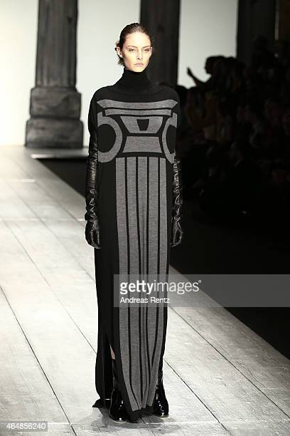 A model walks the runway at the Laura Biagiotti show during the Milan Fashion Week Autumn/Winter 2015 on March 1 2015 in Milan Italy