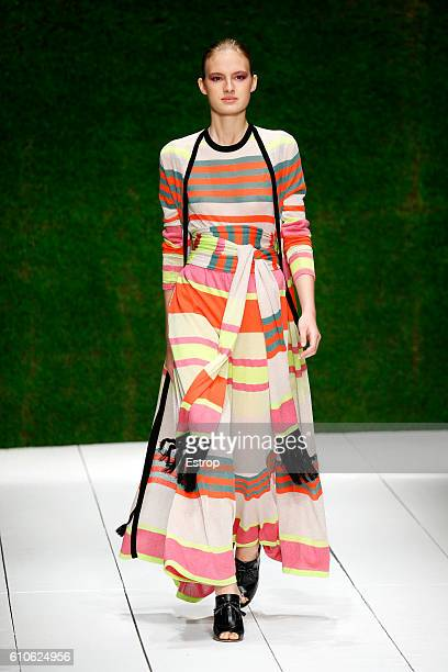 A model walks the runway at the Laura Biagiotti show Milan Fashion Week Spring/Summer 2017 on September 25 2016 in Milan Italy