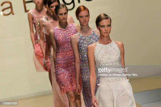 A model walks the runway at the Laura Biagiotti Spring/Summer 2012 fashion show as part Milan Womenswear Fashion Week on September 25 2011 in Milan...