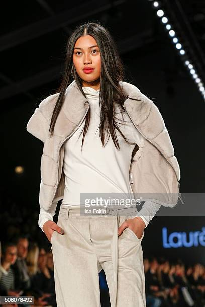 A model walks the runway at the Laurel Show during MercedesBenz Fashion Week Berlin Autumn/Winter 2016 on January 20 2016 in Berlin Germany