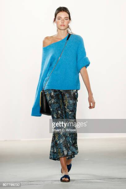 A model walks the runway at the Laurel show during the MercedesBenz Fashion Week Berlin Spring/Summer 2018 at Kaufhaus Jandorf on July 4 2017 in...
