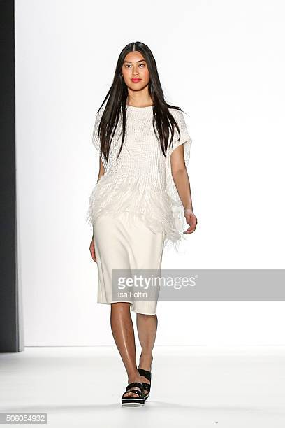 A model walks the runway at the Laurel Show MercedesBenz Fashion Week Berlin Autumn/Winter 2016 on January 20 2016 in Berlin Germany