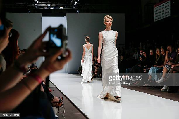 A model walks the runway at the Lavera Showfloor at MercedesBenz Fashion Week Berlin Spring/Summer 2016 on July 09 2015 in Berlin Germany