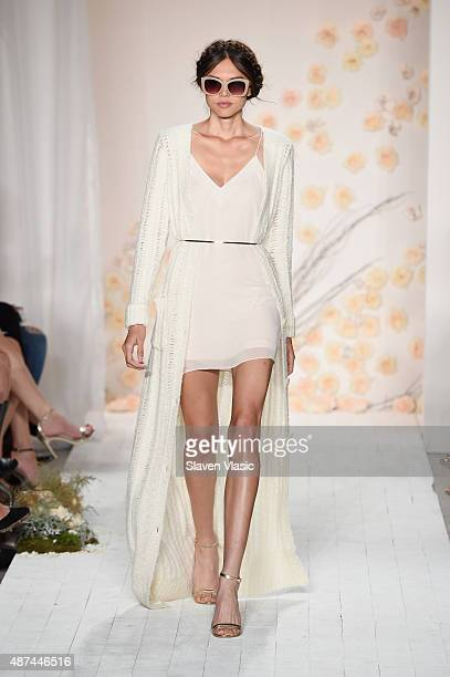 A model walks the runway at the LC Lauren Conrad fashion show during New York Fashion Week Spring 2016 at Skylight Modern on September 9 2015 in New...
