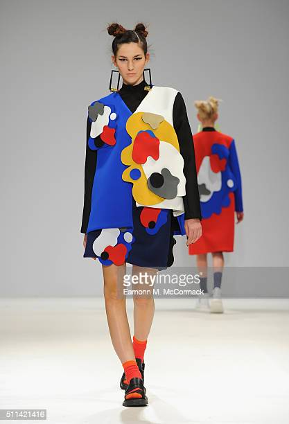 A model walks the runway at the Leaf Xia show at Fashion Scout during London Fashion Week Autumn/Winter 2016/17 at Freemasons' Hall on February 20...
