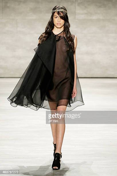 A model walks the runway at the Leanne Marshall fashion show during MercedesBenz Fashion Week Fall at The Pavilion at Lincoln Center on February 18...