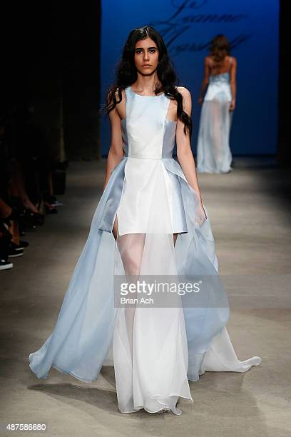 A model walks the runway at the Leanne Marshall fashion show during Spring 2016 New York Fashion Week The Shows at Art Beam on September 10 2015 in...