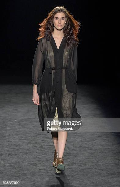 A model walks the runway at the Lebor Gabala show during the Barcelona 080 Fashion Week Autumn/Winter 2016/2017 at Casa Llotja de Mar on February 3...