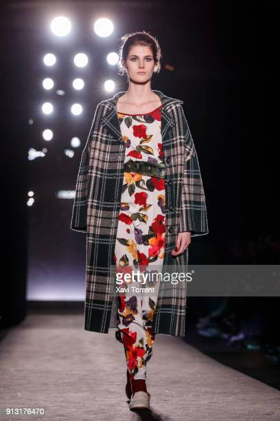 A model walks the runway at the Lebor Gabala show during the Barcelona 080 Fashion Week on February 1 2018 in Barcelona Spain