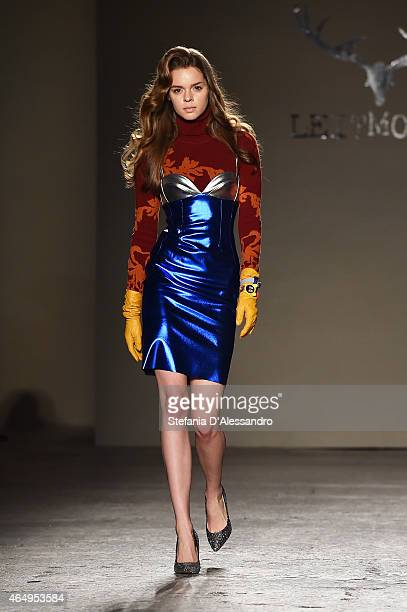 A model walks the runway at the Leitmotiv show during the Milan Fashion Week Autumn/Winter 2015 on March 2 2015 in Milan Italy