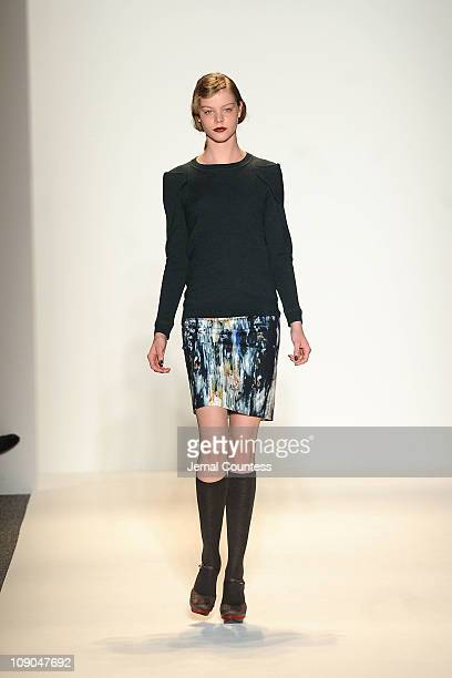 A model walks the runway at the Lela Rose Fall 2011 fashion show during MercedesBenz Fashion Week at The Stage at Lincoln Center on February 13 2011...