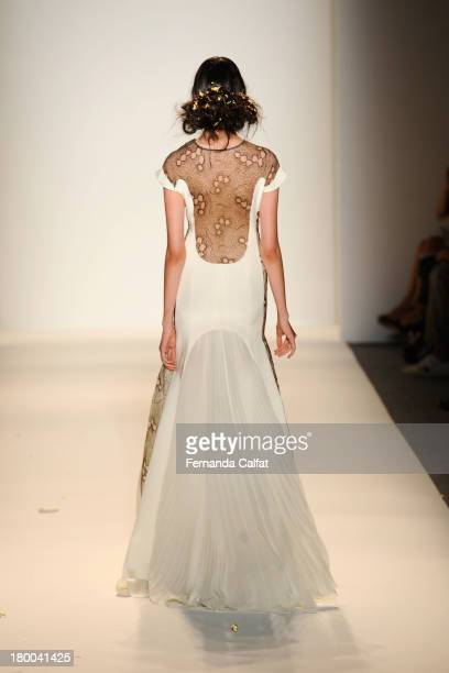 A model walks the runway at the Lela Rose fashion show during MercedesBenz Fashion Week Spring 2014 at The Studio at Lincoln Center on September 8...
