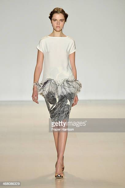 A model walks the runway at the Lela Rose fashion show during MercedesBenz Fashion Week Fall 2014 at The Salon at Lincoln Center on February 9 2014...