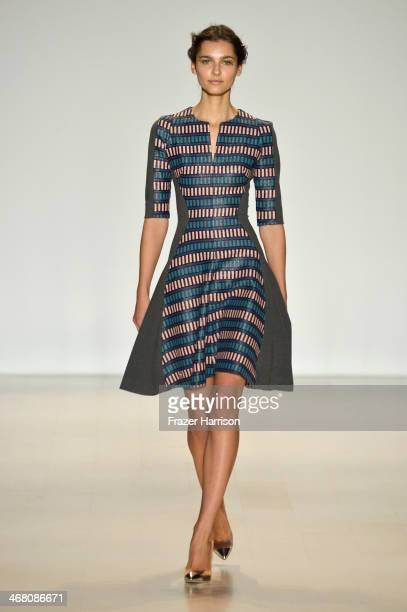 Model walks the runway at the Lela Rose fashion show during Mercedes-Benz Fashion Week Fall 2014 at The Salon at Lincoln Center on February 9, 2014...