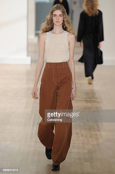 Model walks the runway at the Lemaire Spring Summer 2016 fashion show during Paris Fashion Week on September 30, 2015 in Paris, France.