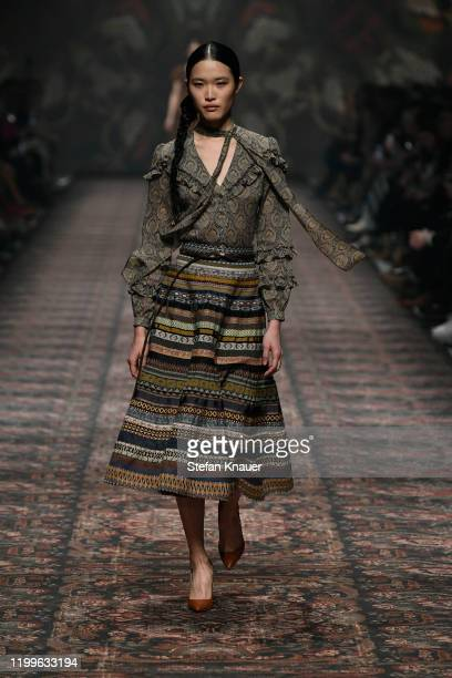 A model walks the runway at the Lena Hoschek show during Berlin Fashion Week Autumn/Winter 2020 at Kraftwerk Mitte on January 15 2020 in Berlin...