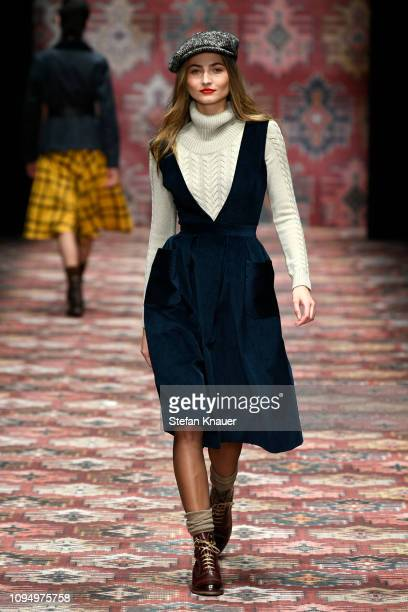 A model walks the runway at the Lena Hoschek show during the Berlin Fashion Week Autumn/Winter 2019 at ewerk on January 16 2019 in Berlin Germany