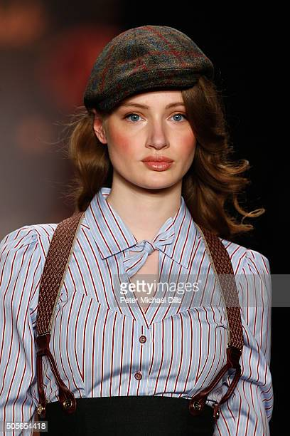 A model walks the runway at the Lena Hoschek show during the MercedesBenz Fashion Week Berlin Autumn/Winter 2016 at Brandenburg Gate on January 19...