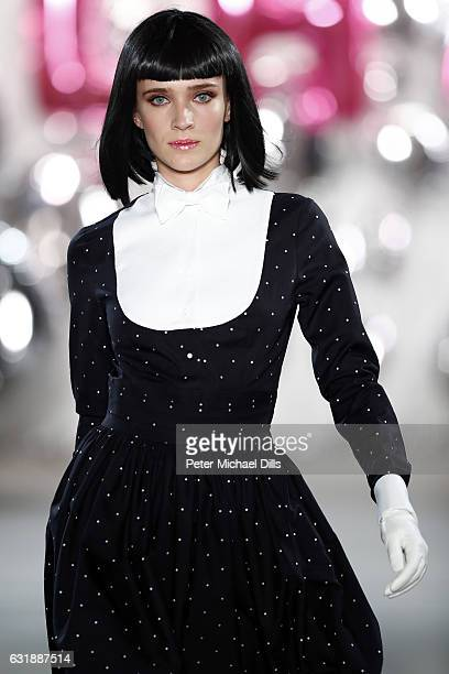 A model walks the runway at the Lena Hoschek show during the MercedesBenz Fashion Week Berlin A/W 2017 at Kaufhaus Jandorf on January 17 2017 in...