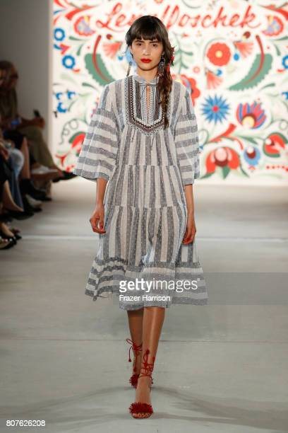 A model walks the runway at the Lena Hoschek show during the MercedesBenz Fashion Week Berlin Spring/Summer 2018 at Kaufhaus Jandorf on July 4 2017...